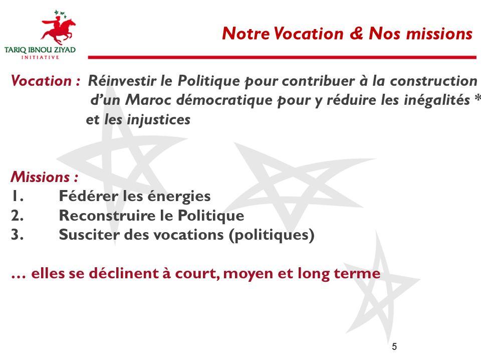 5 Notre Vocation & Nos missions Vocation : Réinvestir le Politique pour contribuer à la construction dun Maroc démocratique pour y réduire les inégali