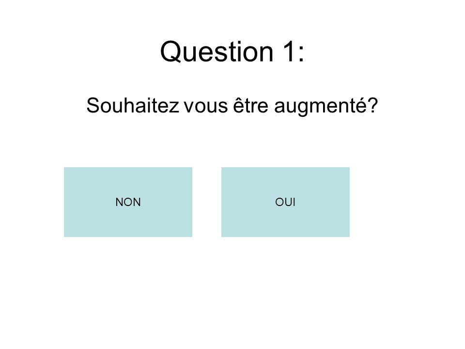 Question 1: Souhaitez vous être augmenté? NONOUI