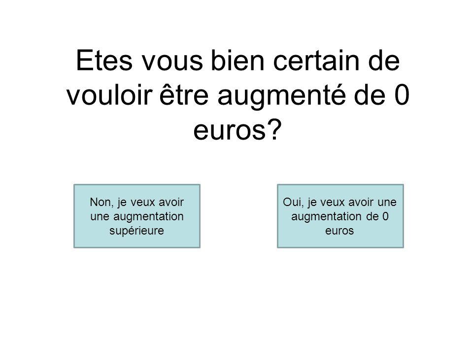 Etes vous bien certain de vouloir être augmenté de 0 euros.