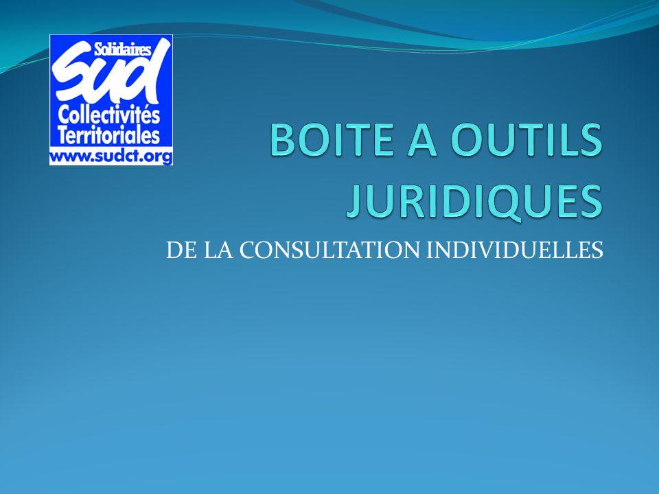 DE LA CONSULTATION INDIVIDUELLES