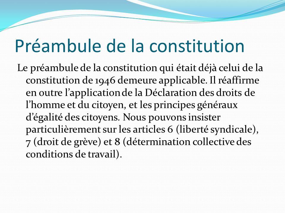 Préambule de la constitution Le préambule de la constitution qui était déjà celui de la constitution de 1946 demeure applicable. Il réaffirme en outre