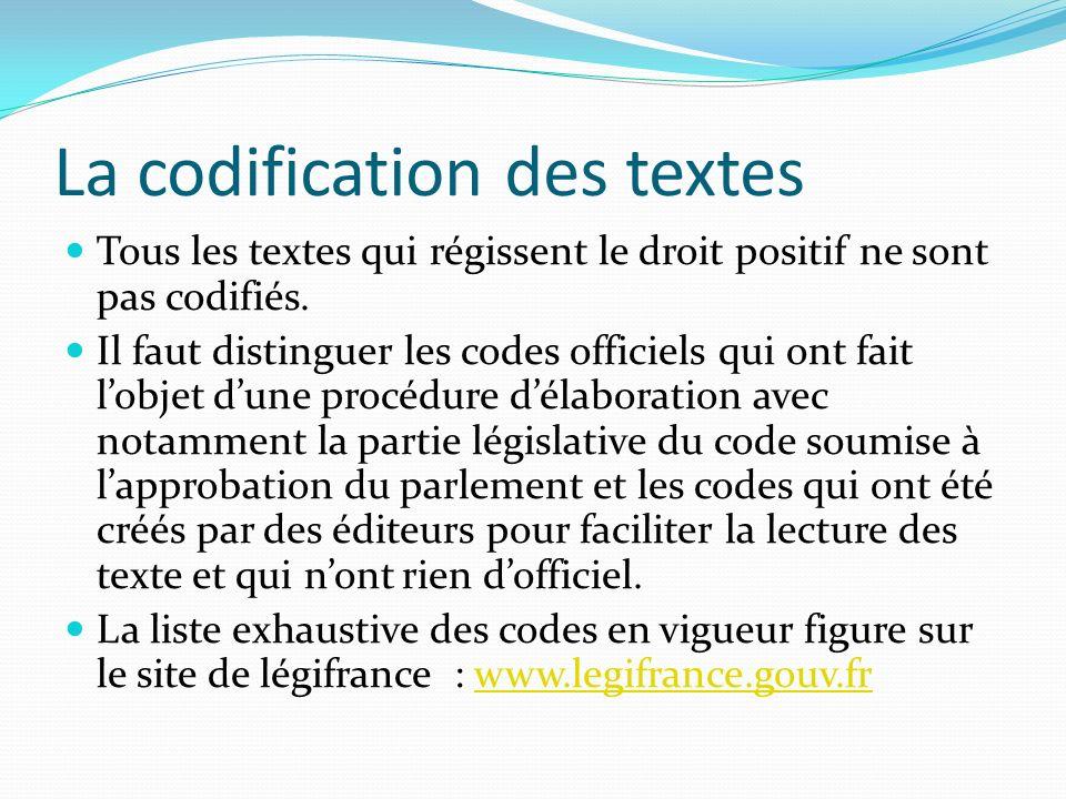 La codification des textes Tous les textes qui régissent le droit positif ne sont pas codifiés. Il faut distinguer les codes officiels qui ont fait lo