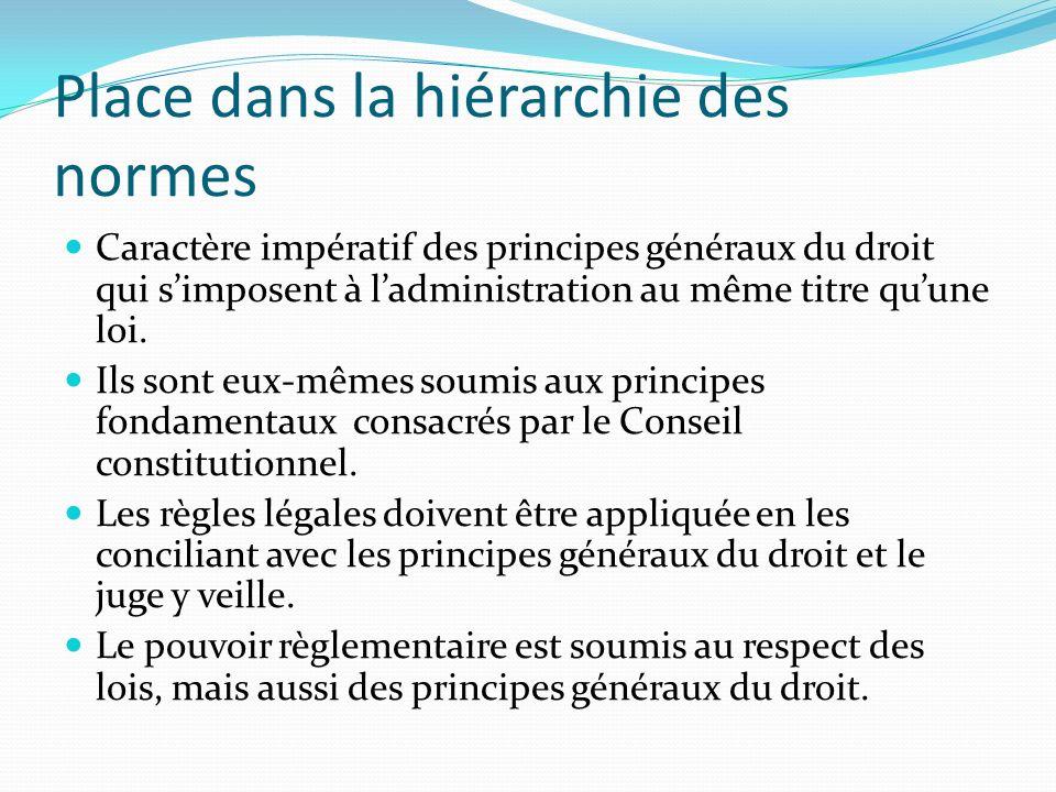 Place dans la hiérarchie des normes Caractère impératif des principes généraux du droit qui simposent à ladministration au même titre quune loi. Ils s
