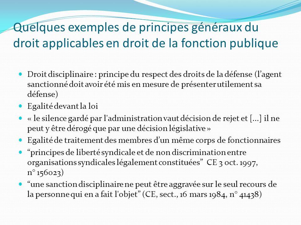 Quelques exemples de principes généraux du droit applicables en droit de la fonction publique Droit disciplinaire : principe du respect des droits de