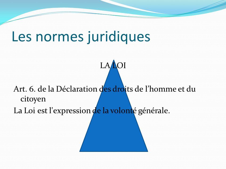 Les normes juridiques LA LOI Art. 6. de la Déclaration des droits de lhomme et du citoyen La Loi est l'expression de la volonté générale.