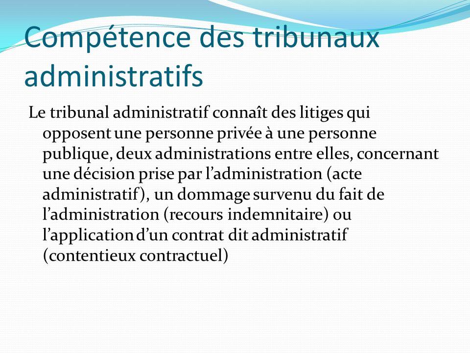 Compétence des tribunaux administratifs Le tribunal administratif connaît des litiges qui opposent une personne privée à une personne publique, deux a