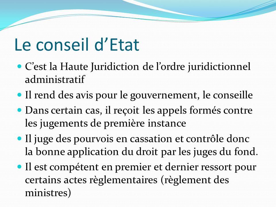 Le conseil dEtat Cest la Haute Juridiction de lordre juridictionnel administratif Il rend des avis pour le gouvernement, le conseille Dans certain cas
