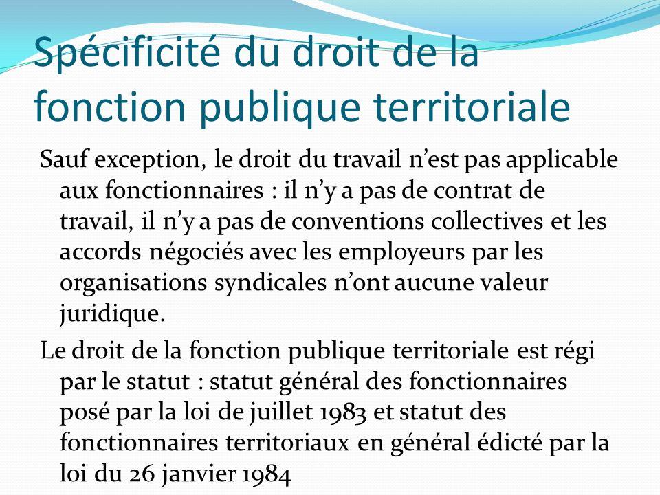 Spécificité du droit de la fonction publique territoriale Sauf exception, le droit du travail nest pas applicable aux fonctionnaires : il ny a pas de