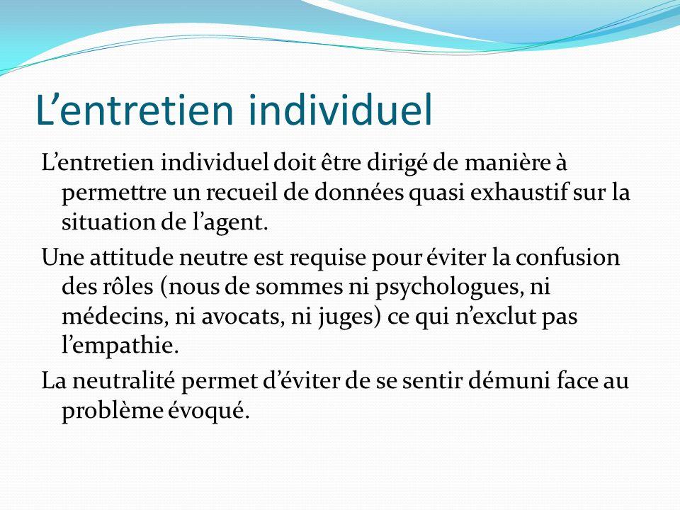 Lentretien individuel Lentretien individuel doit être dirigé de manière à permettre un recueil de données quasi exhaustif sur la situation de lagent.