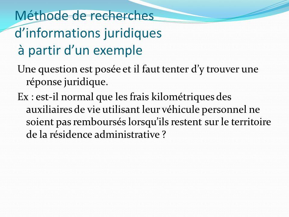 Méthode de recherches dinformations juridiques à partir dun exemple Une question est posée et il faut tenter dy trouver une réponse juridique. Ex : es