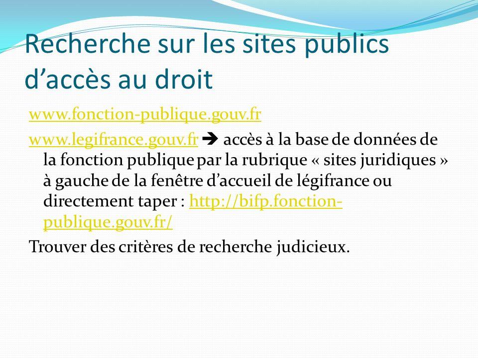 Recherche sur les sites publics daccès au droit www.fonction-publique.gouv.fr www.legifrance.gouv.frwww.legifrance.gouv.fr accès à la base de données