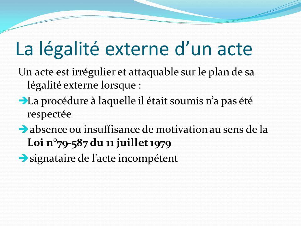La légalité externe dun acte Un acte est irrégulier et attaquable sur le plan de sa légalité externe lorsque : La procédure à laquelle il était soumis