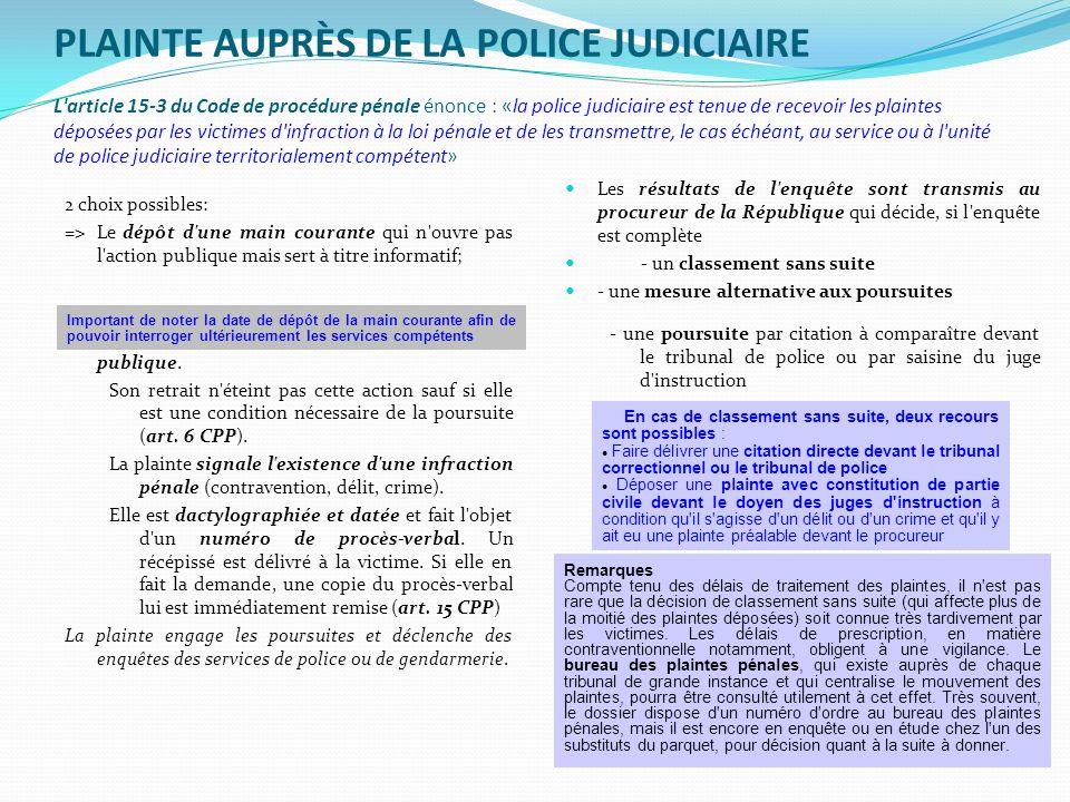 PLAINTE AUPRÈS DE LA POLICE JUDICIAIRE L'article 15-3 du Code de procédure pénale énonce : «la police judiciaire est tenue de recevoir les plaintes dé