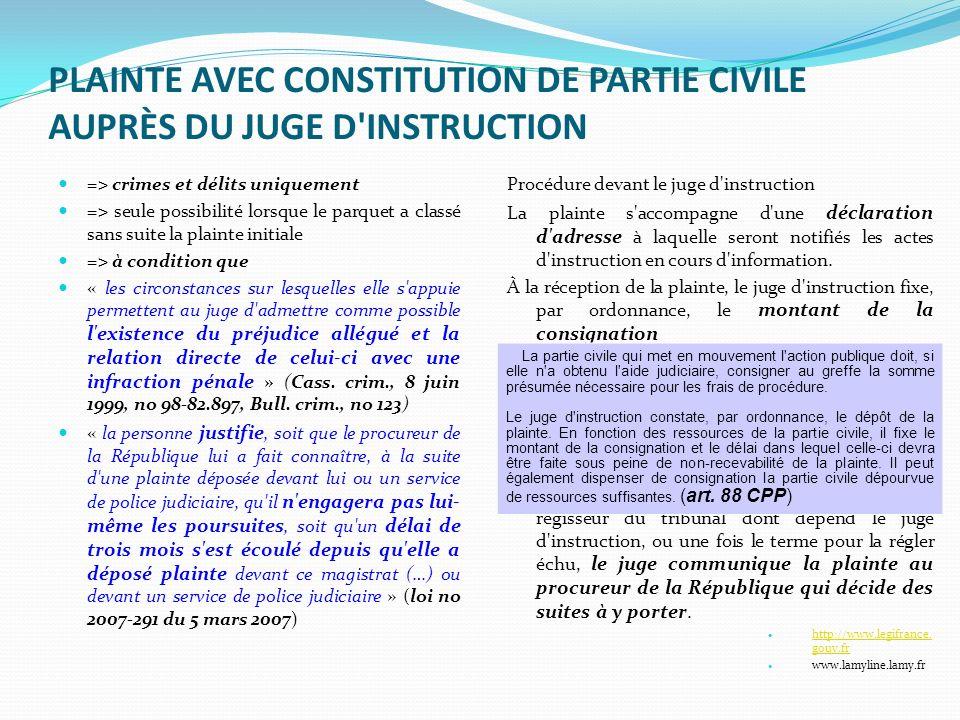 PLAINTE AVEC CONSTITUTION DE PARTIE CIVILE AUPRÈS DU JUGE D'INSTRUCTION => crimes et délits uniquement => seule possibilité lorsque le parquet a class
