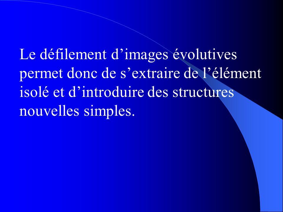 Le défilement dimages évolutives permet donc de sextraire de lélément isolé et dintroduire des structures nouvelles simples.