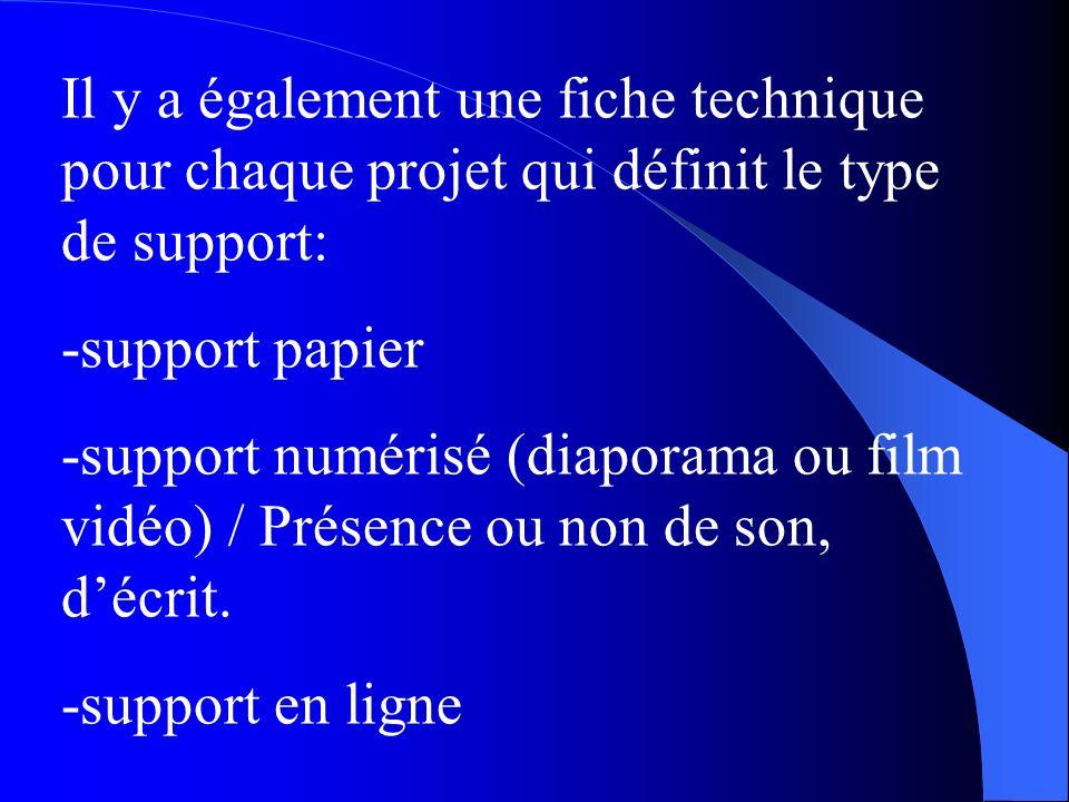 Il y a également une fiche technique pour chaque projet qui définit le type de support: -support papier -support numérisé (diaporama ou film vidéo) /