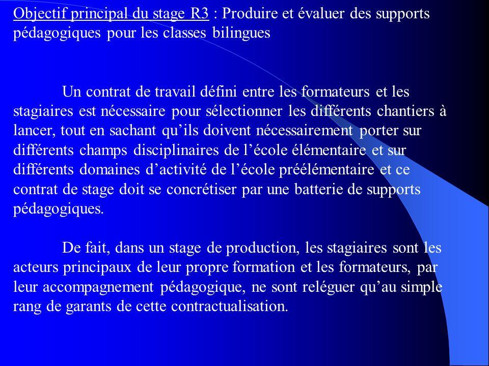 Objectif principal du stage R3 : Produire et évaluer des supports pédagogiques pour les classes bilingues Un contrat de travail défini entre les forma
