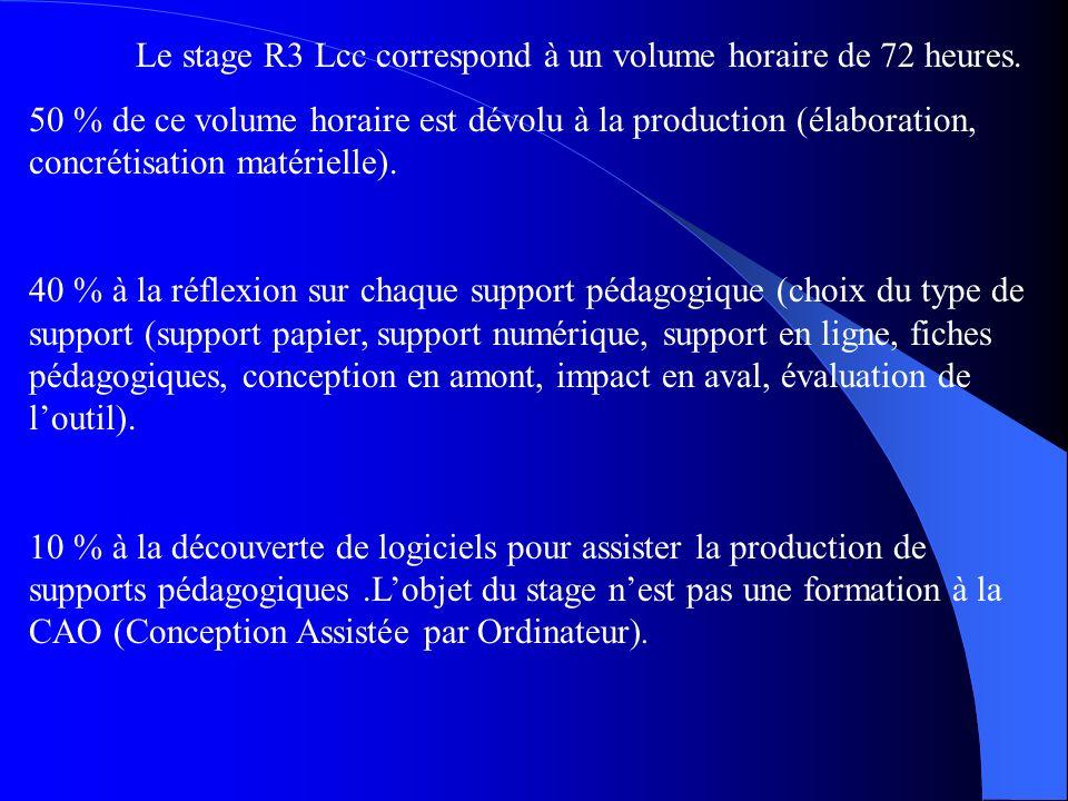 Le stage R3 Lcc correspond à un volume horaire de 72 heures. 50 % de ce volume horaire est dévolu à la production (élaboration, concrétisation matérie