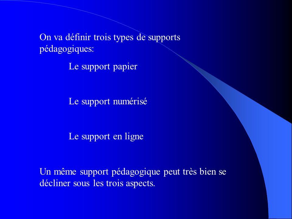 On va définir trois types de supports pédagogiques: Le support papier Le support numérisé Le support en ligne Un même support pédagogique peut très bi