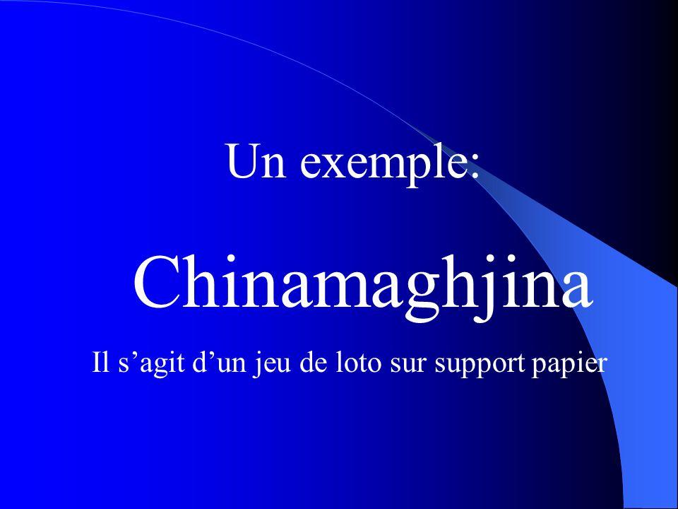 Un exemple: Chinamaghjina Il sagit dun jeu de loto sur support papier