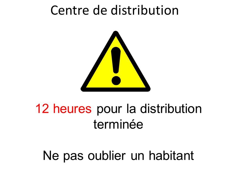 Centre de distribution 12 heures pour la distribution terminée Ne pas oublier un habitant
