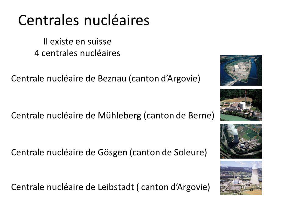 Centrales nucléaires Il existe en suisse 4 centrales nucléaires Centrale nucléaire de Beznau (canton dArgovie) Centrale nucléaire de Mühleberg (canton