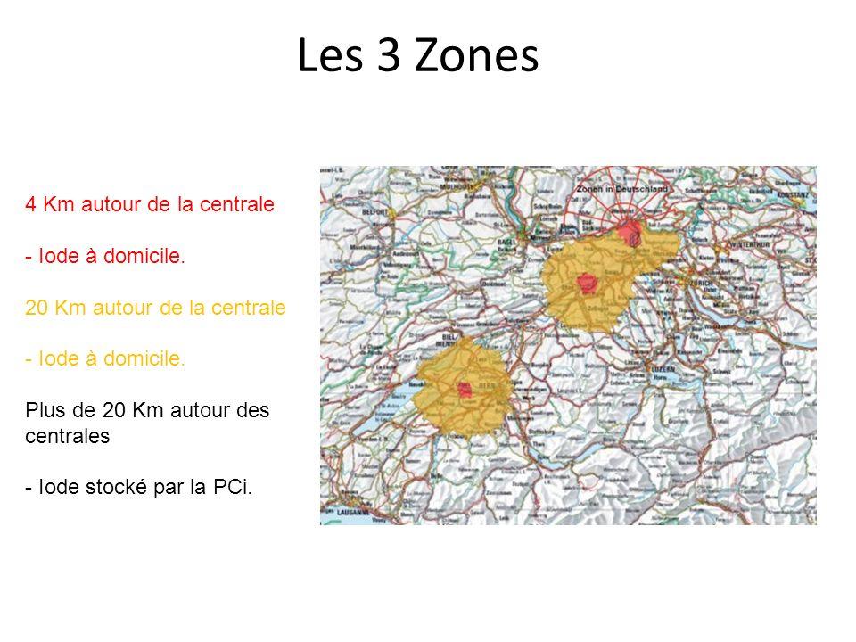 Les 3 Zones 4 Km autour de la centrale - Iode à domicile. 20 Km autour de la centrale - Iode à domicile. Plus de 20 Km autour des centrales - Iode sto