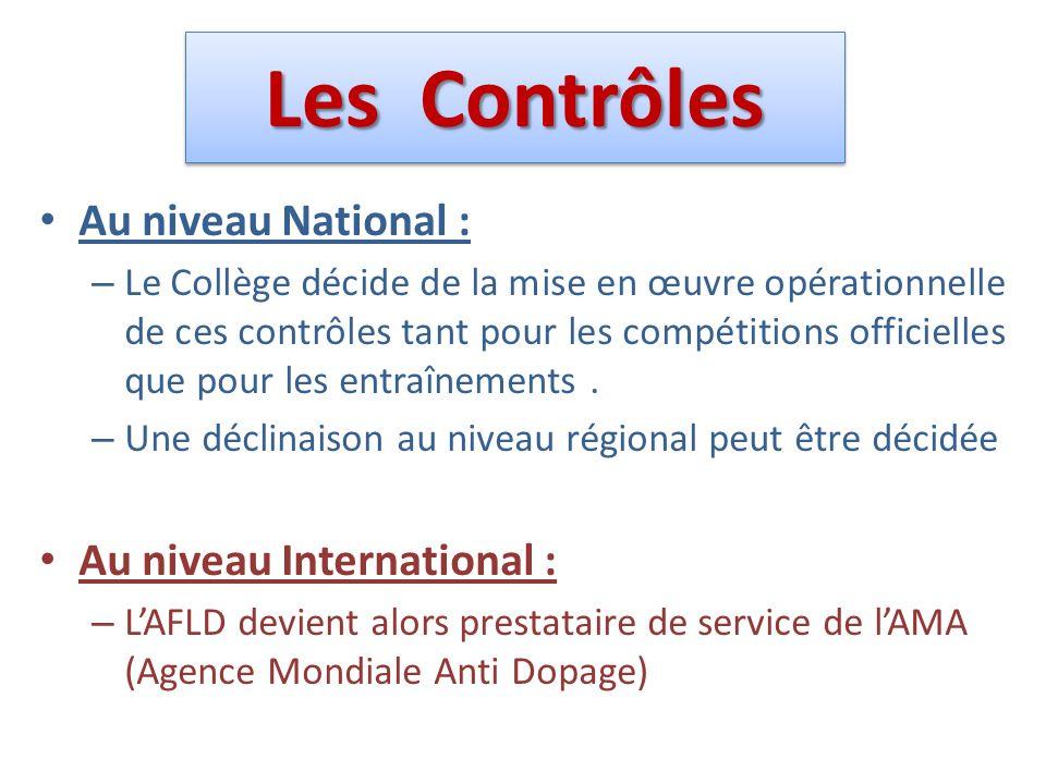 Les Contrôles Au niveau National : – Le Collège décide de la mise en œuvre opérationnelle de ces contrôles tant pour les compétitions officielles que pour les entraînements.