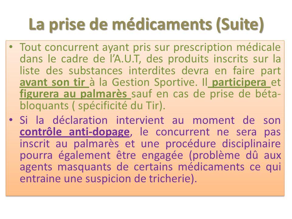 La prise de médicaments (Suite) Tout concurrent ayant pris sur prescription médicale dans le cadre de lA.U.T, des produits inscrits sur la liste des substances interdites devra en faire part avant son tir à la Gestion Sportive.