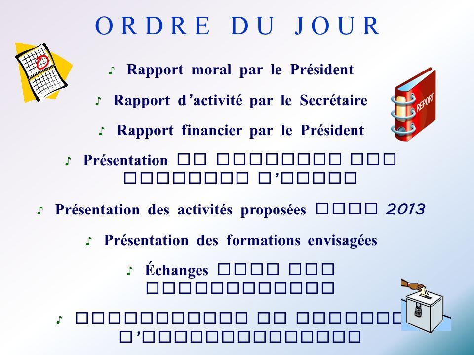 Rapport moral par le Président Rapport d activité par le Secrétaire Rapport financier par le Président Présentation du planning des demandes d aides P