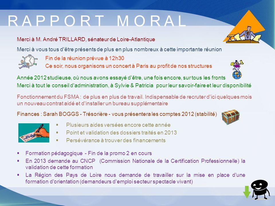 Merci à M. André TRILLARD, sénateur de Loire-Atlantique R A P P O R T M O R A L Finances : Sarah BOGGS - Trésorière - vous présentera les comptes 2012
