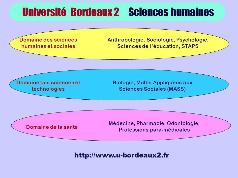 Université Bordeaux 2 Sciences humaines http://www.u-bordeaux2.fr Domaine des sciences humaines et sociales Anthropologie, Sociologie, Psychologie, Sc