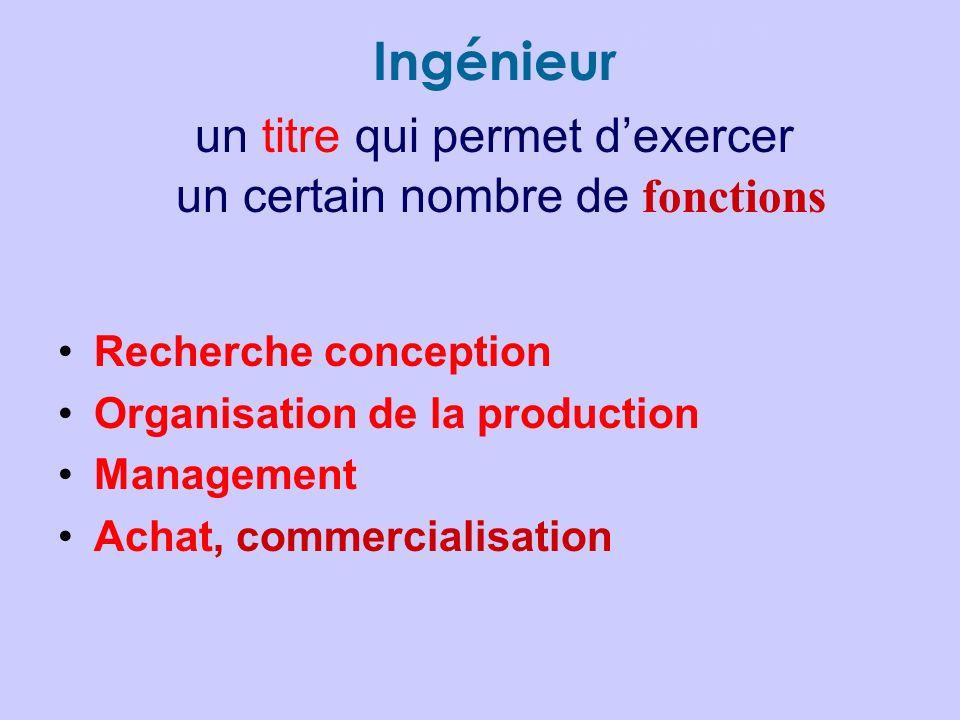 Les métiers dINGÉNIEUR Ingénieur un titre qui permet dexercer un certain nombre de fonctions Recherche conception Organisation de la production Manage