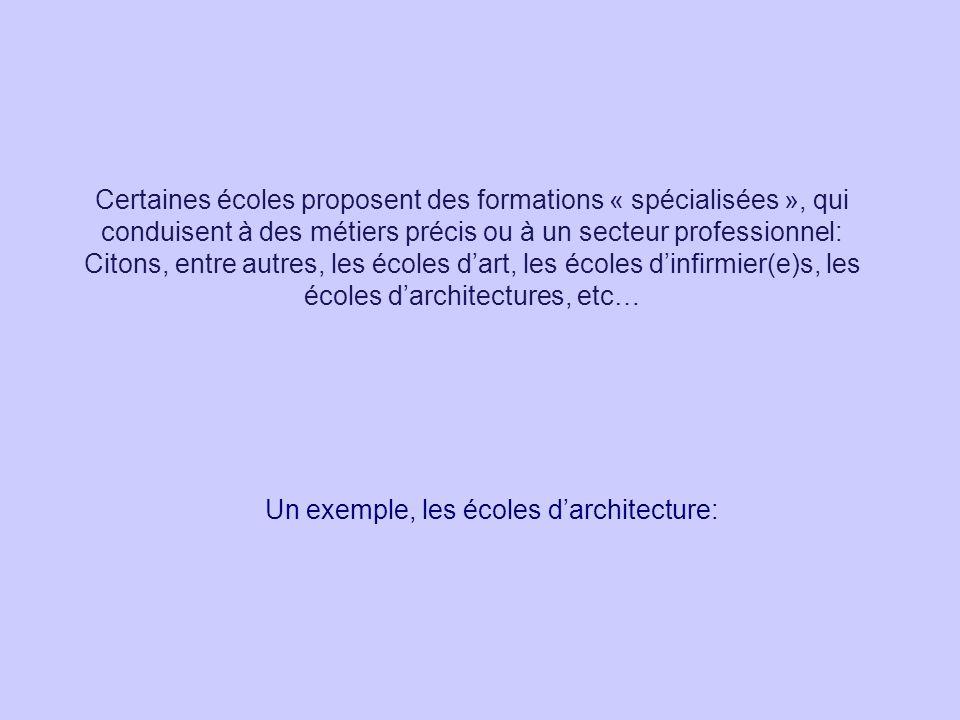 Certaines écoles proposent des formations « spécialisées », qui conduisent à des métiers précis ou à un secteur professionnel: Citons, entre autres, l