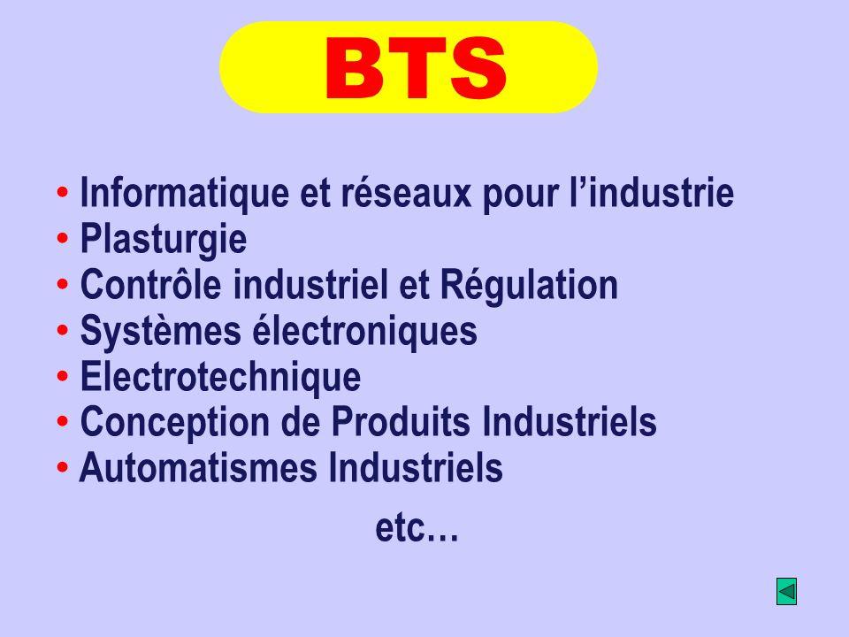 Informatique et réseaux pour lindustrie Plasturgie Contrôle industriel et Régulation Systèmes électroniques Electrotechnique Conception de Produits In