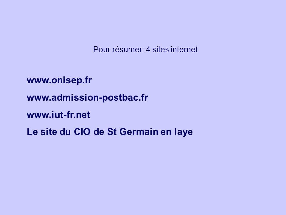 Pour résumer: 4 sites internet www.onisep.fr www.admission-postbac.fr www.iut-fr.net Le site du CIO de St Germain en laye