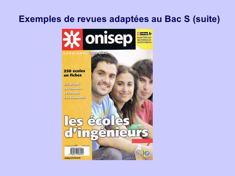 Exemples de revues adaptées au Bac S (suite)