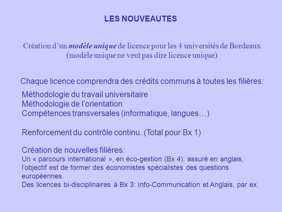 LES NOUVEAUTES Création dun modèle unique de licence pour les 4 universités de Bordeaux (modèle unique ne veut pas dire licence unique) Chaque licence