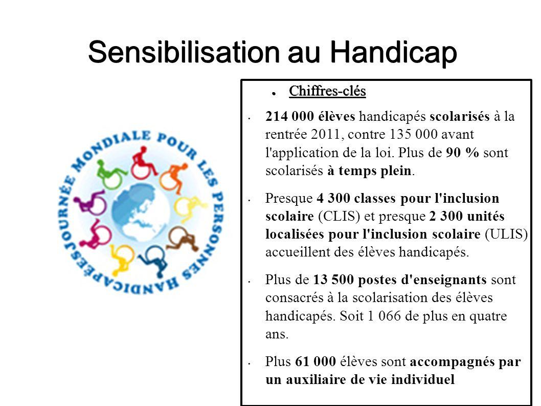 Sensibilisation au Handicap Chiffres-clés Chiffres-clés 214 000 élèves handicapés scolarisés à la rentrée 2011, contre 135 000 avant l'application de