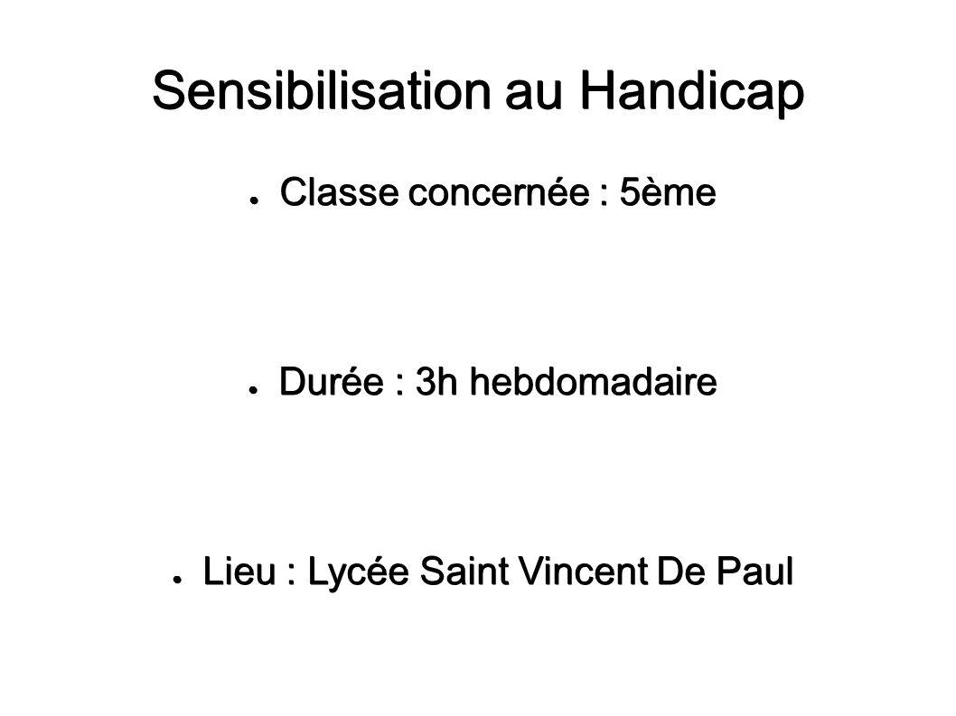 Sensibilisation au Handicap Classe concernée : 5ème Classe concernée : 5ème Durée : 3h hebdomadaire Durée : 3h hebdomadaire Lieu : Lycée Saint Vincent
