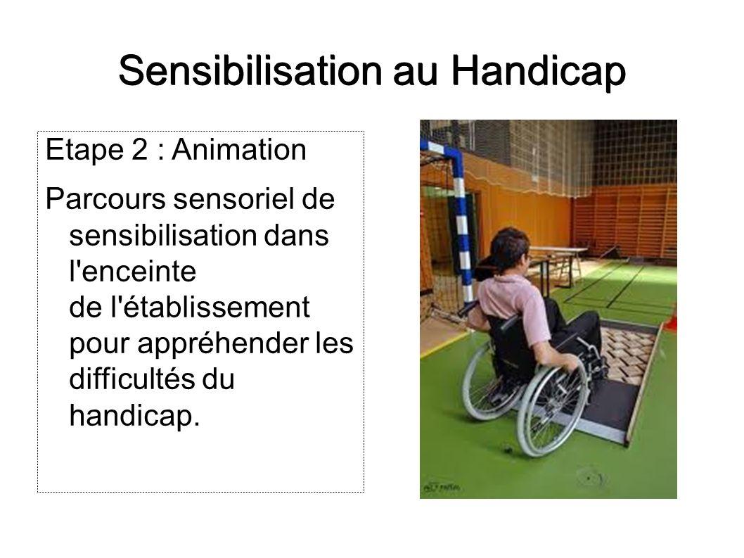 Sensibilisation au Handicap Etape 2 : Animation Parcours sensoriel de sensibilisation dans l'enceinte de l'établissement pour appréhender les difficul