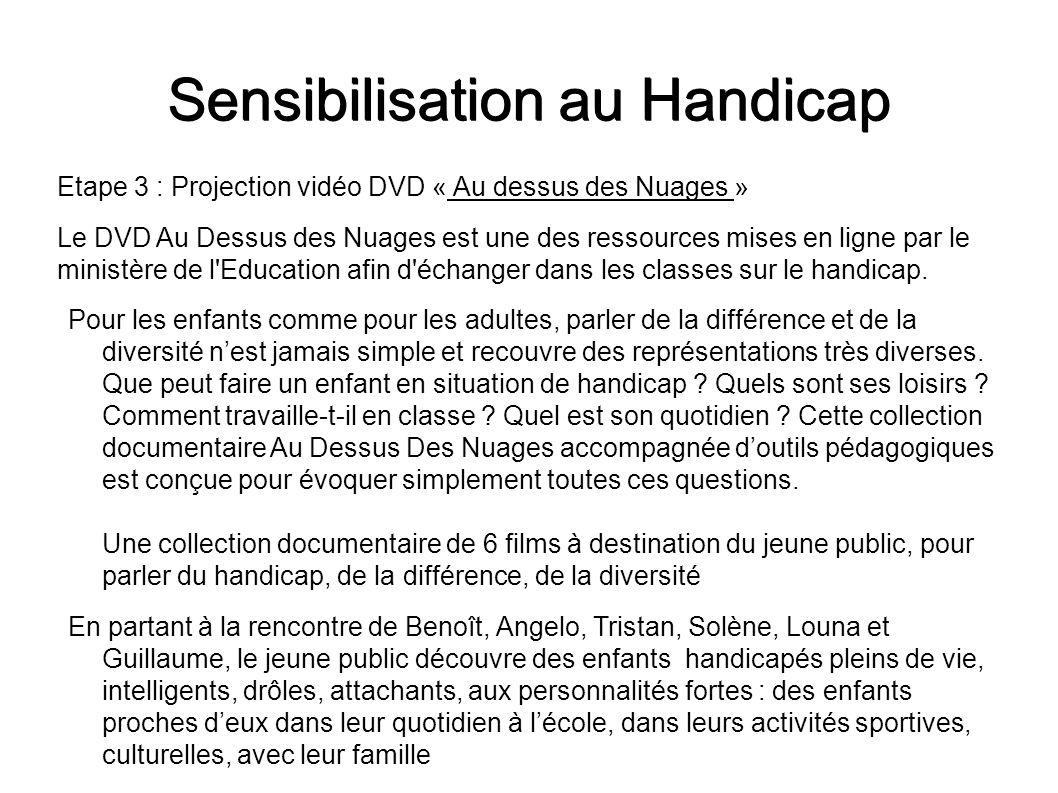 Sensibilisation au Handicap Etape 3 : Projection vidéo DVD « Au dessus des Nuages » Le DVD Au Dessus des Nuages est une des ressources mises en ligne
