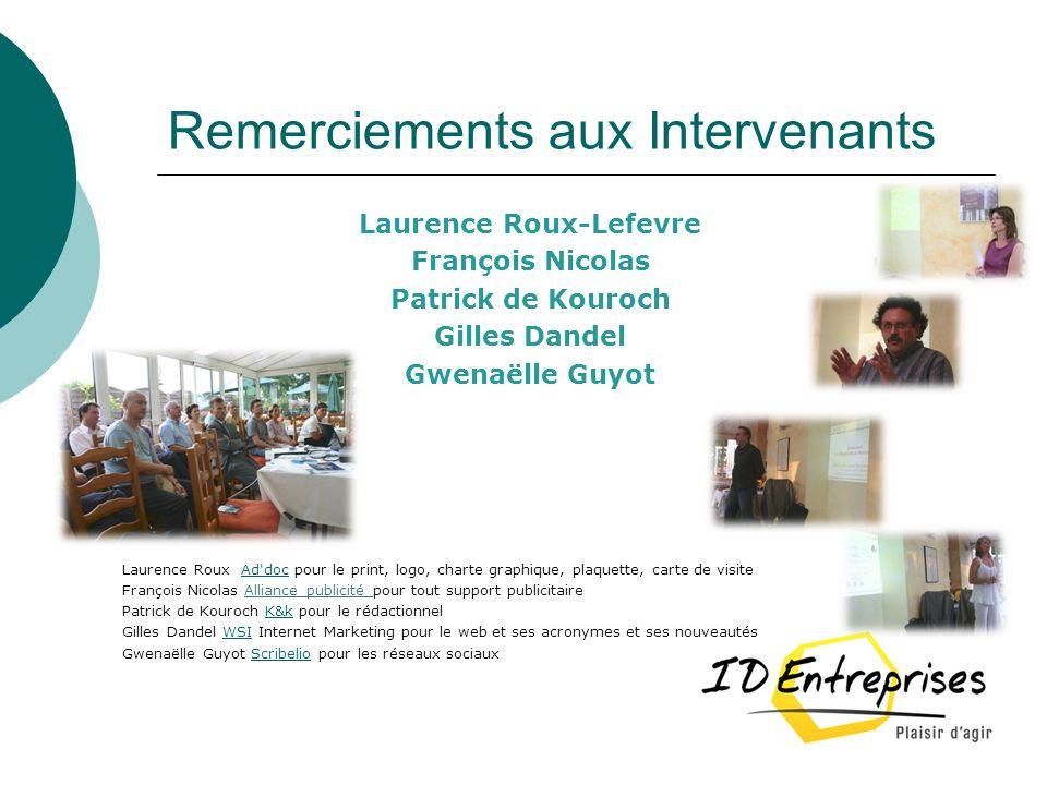 Remerciements aux Intervenants Laurence Roux-Lefevre François Nicolas Patrick de Kouroch Gilles Dandel Gwenaëlle Guyot Laurence Roux Ad'doc pour le pr