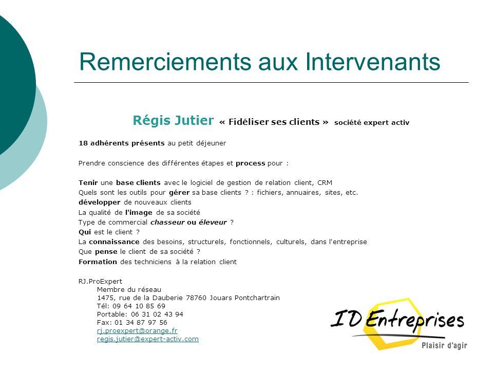 Remerciements aux Intervenants Régis Jutier « Fidéliser ses clients » société expert activ 18 adhérents présents au petit déjeuner Prendre conscience