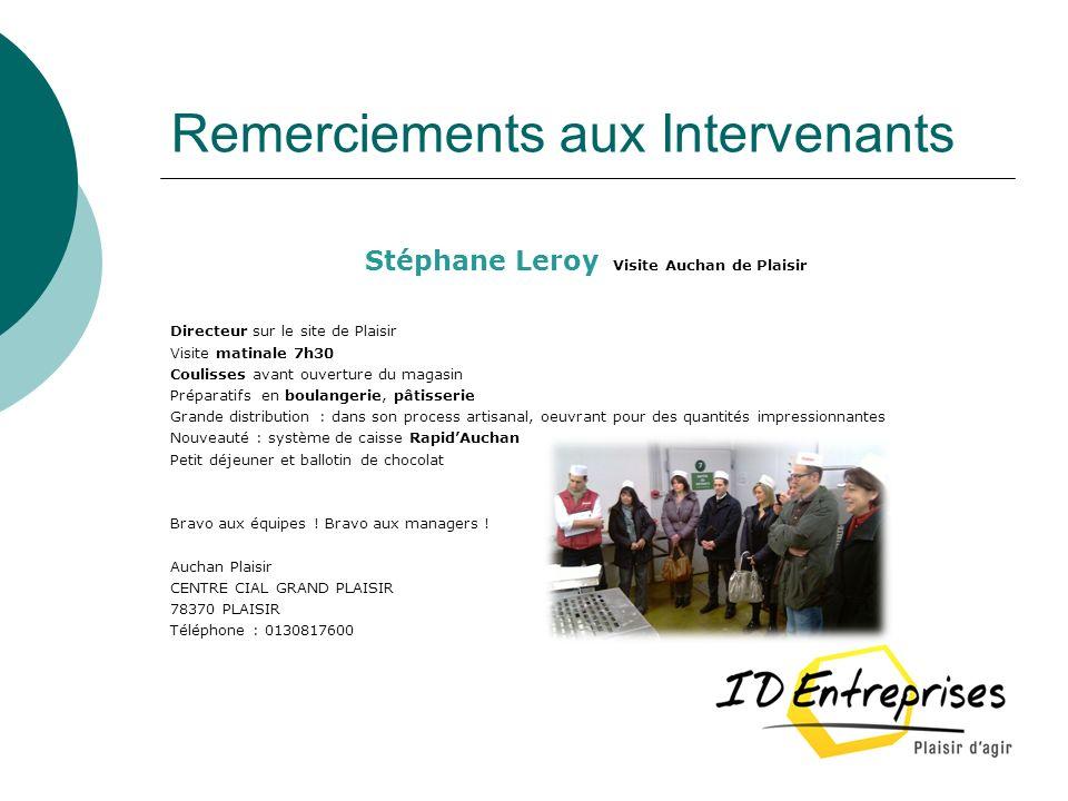 Remerciements aux Intervenants Stéphane Leroy Visite Auchan de Plaisir Directeur sur le site de Plaisir Visite matinale 7h30 Coulisses avant ouverture