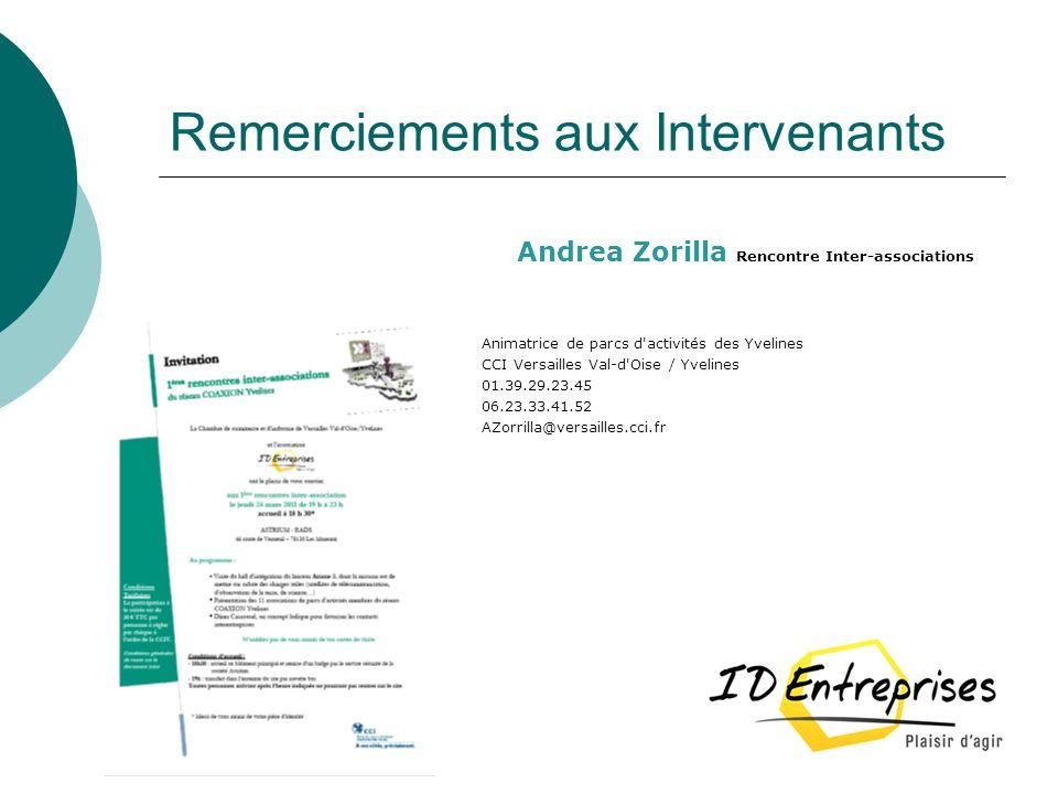 Remerciements aux Intervenants Andrea Zorilla Rencontre Inter-associations Animatrice de parcs d'activités des Yvelines CCI Versailles Val-d'Oise / Yv