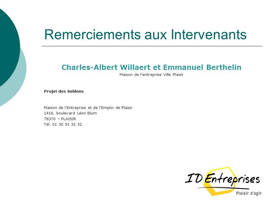Remerciements aux Intervenants Charles-Albert Willaert et Emmanuel Berthelin Maison de lentreprise Ville Plaisir Projet des Sablons Maison de l'Entrep