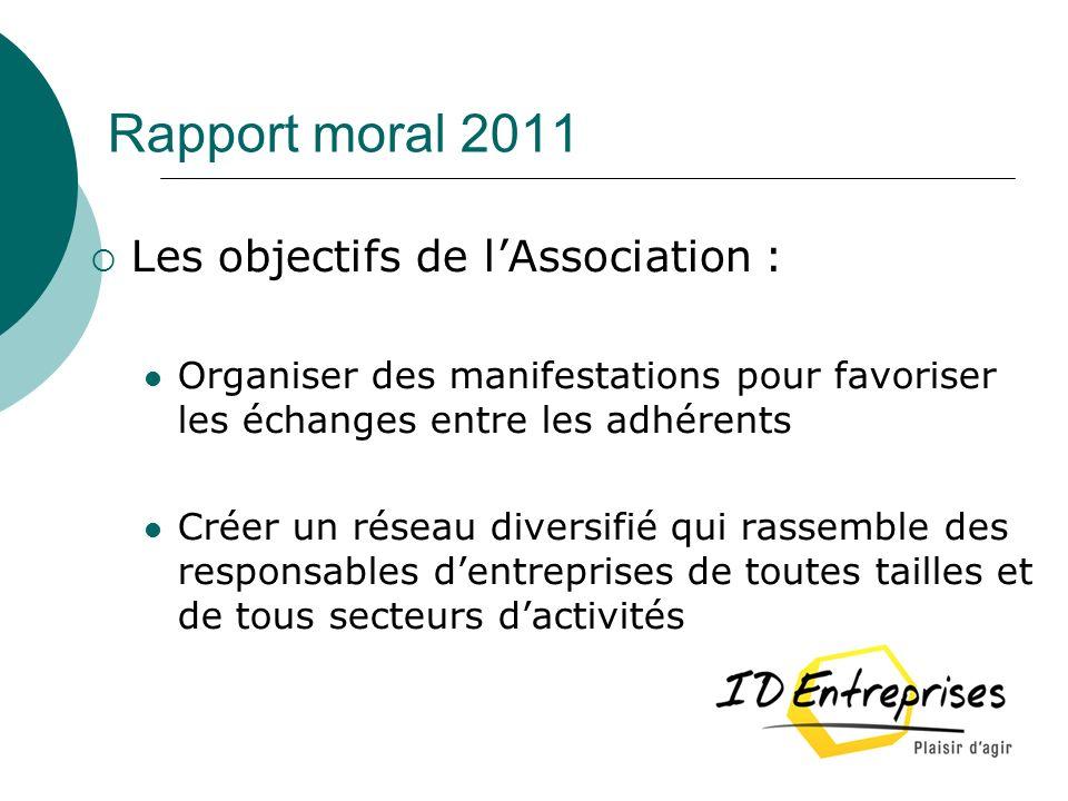 Rapport moral 2011 Les objectifs de lAssociation : Organiser des manifestations pour favoriser les échanges entre les adhérents Créer un réseau divers