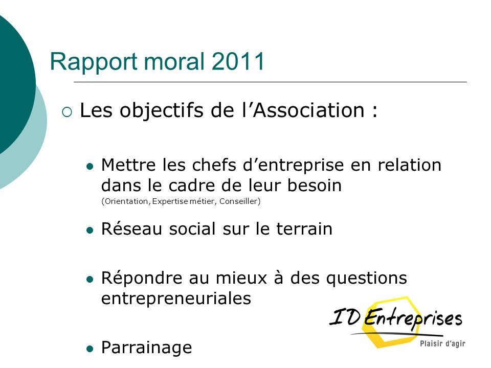 Rapport moral 2011 Les objectifs de lAssociation : Mettre les chefs dentreprise en relation dans le cadre de leur besoin (Orientation, Expertise métie