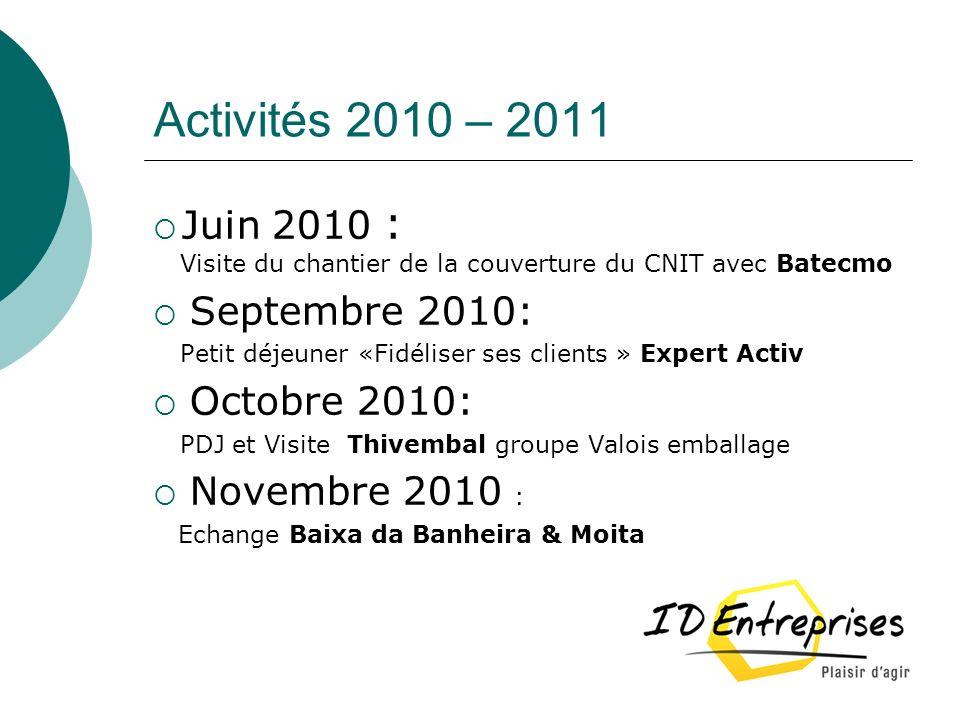 Activités 2010 – 2011 Juin 2010 : Visite du chantier de la couverture du CNIT avec Batecmo Septembre 2010: Petit déjeuner «Fidéliser ses clients » Exp